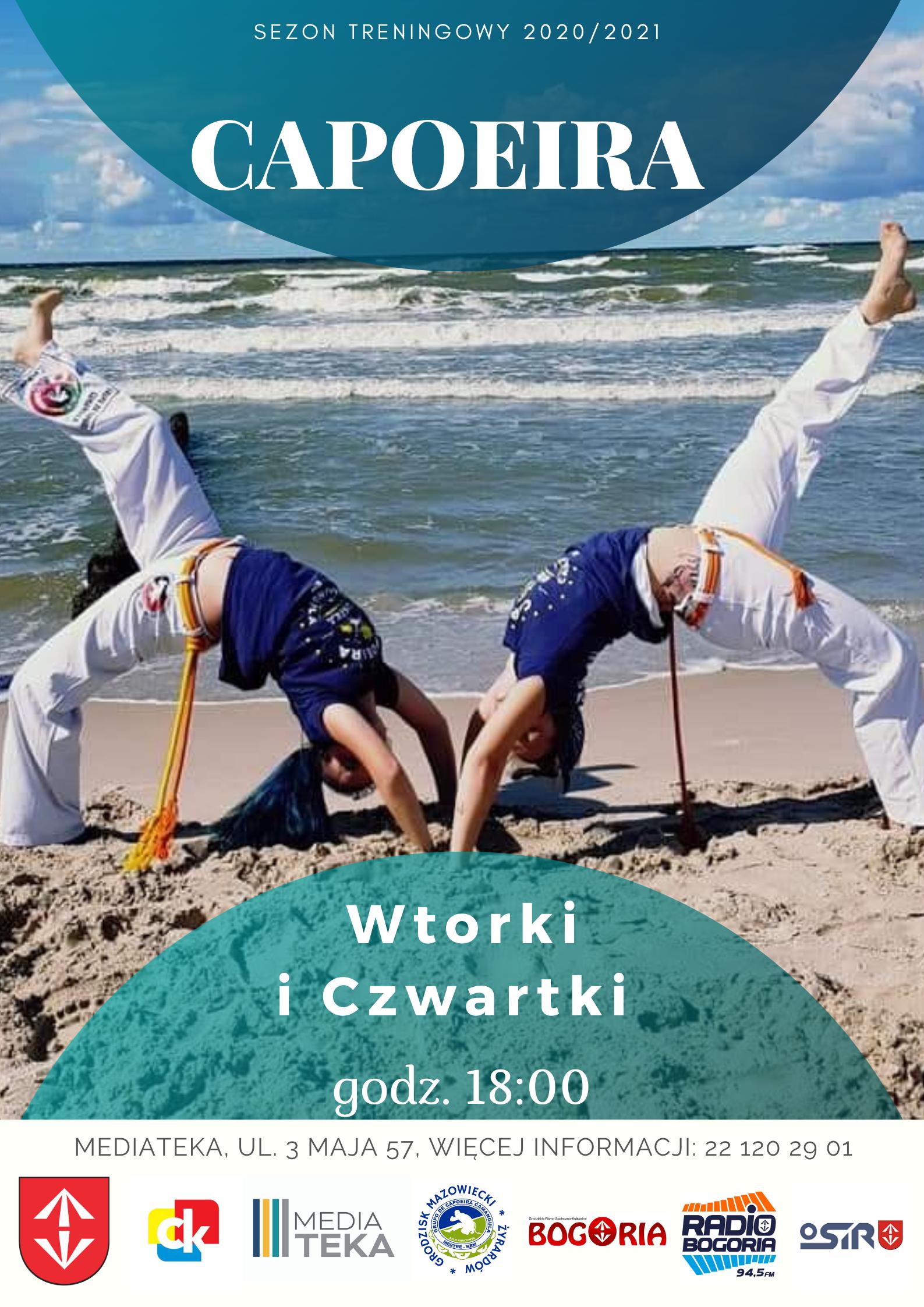 Plakat informujący o zajęciach z Capoeiry