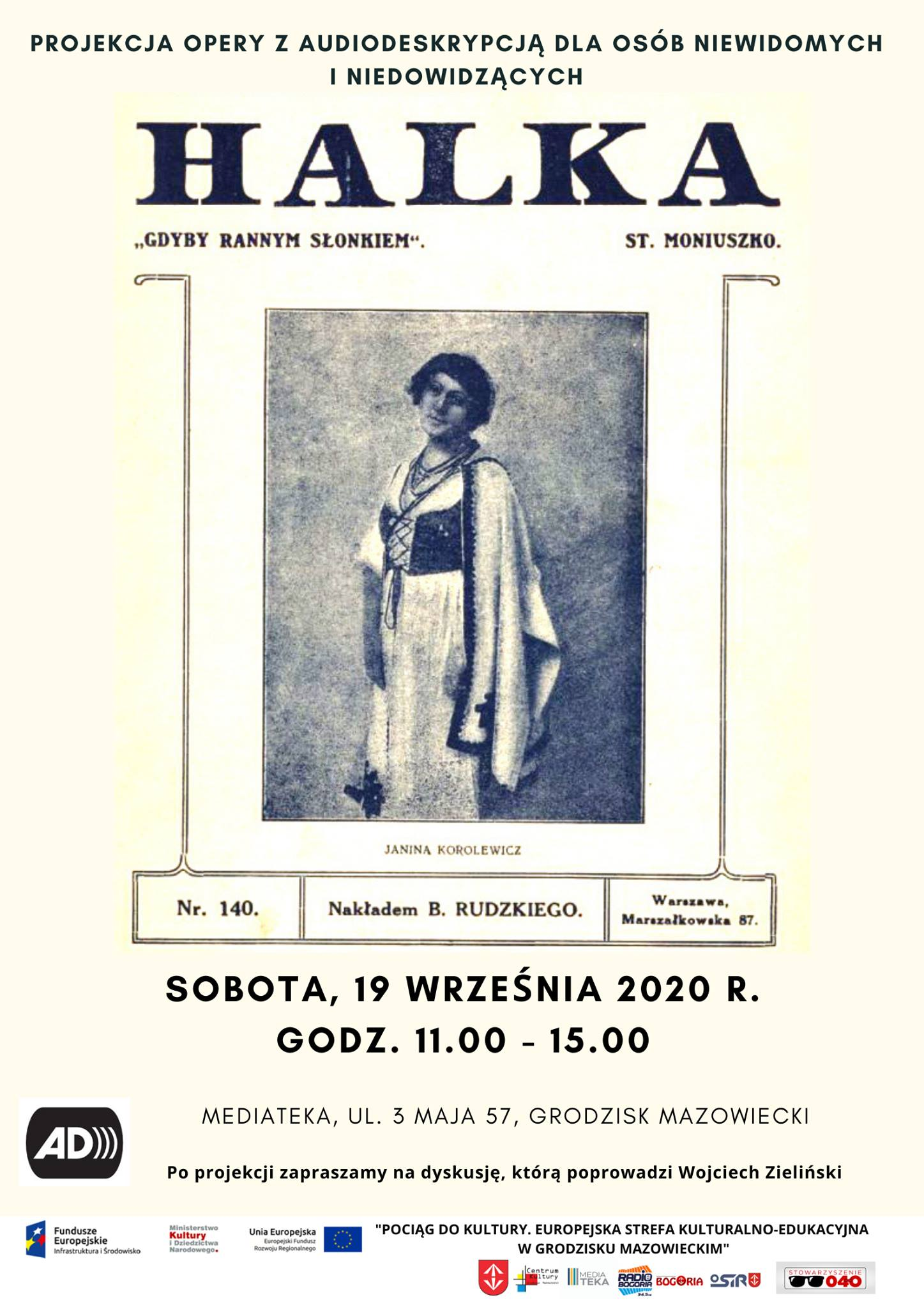 Plakat informujący o projekcji opery z audiodeskrypcją