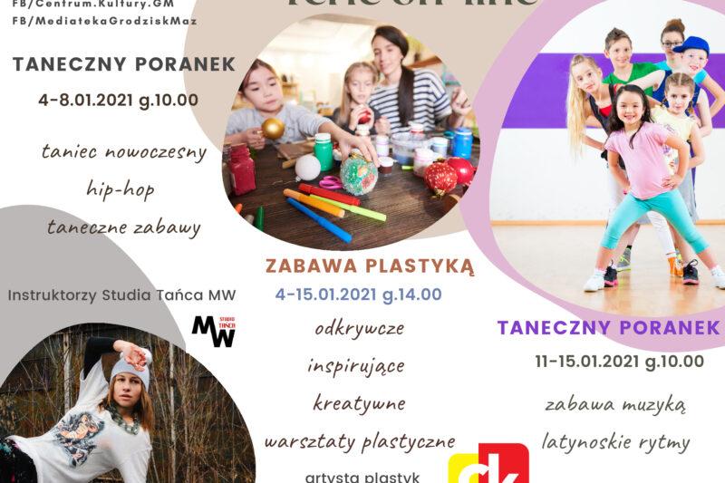 Plakat informujący o feriach on-line