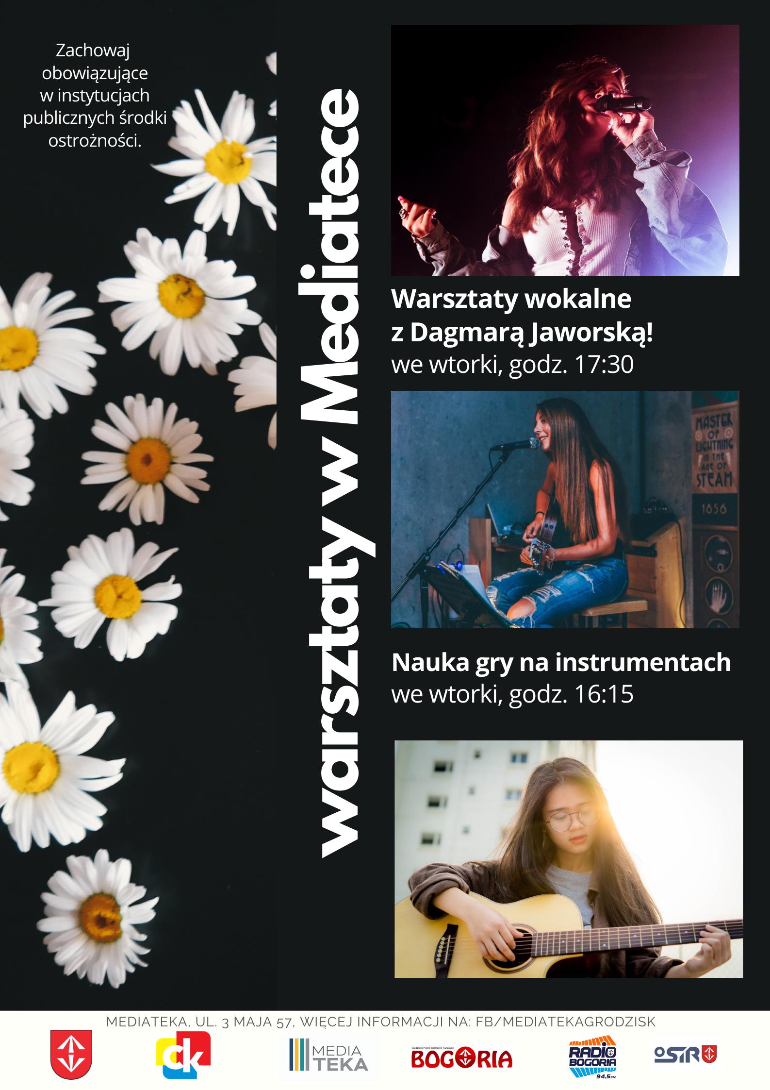 Plakat informujacy o warsztatach wokalnych i instrumentalnych